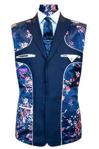 The Huxley Navy Blue Stepped Edge Lapel Suit