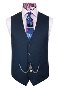 The Kray Navy Blue Suit with Seamless Hexagon Pattern Waistcoat