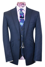 The Kray Navy Blue Suit with Seamless Hexagon Pattern