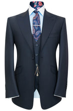 William Hunt Savile Row Classic midnight blue three piece peak lapel suit
