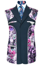 William Hunt Savile Row Classic midnight blue three piece suit featuring a purple floral lining with pink and white highlights