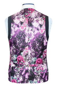 William Hunt Savile Row Classic midnight blue waistcoat featuring a purple floral back lining with pink and white highlights