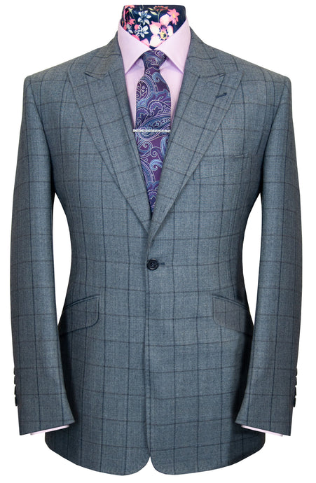 The Chatham Grey with Navy Windowpane Check Suit