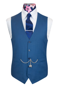 The Elsing Marine Blue Classic Suit Waistcoat Front