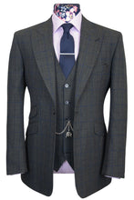 The Bradshaw Charcoal with Royal Blue Windowpane Check Suit