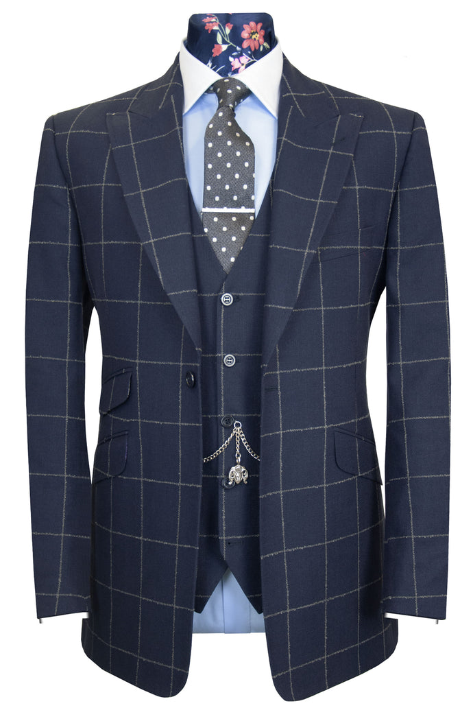 The Aldeby Navy with Grey Windowpane Check Suit