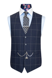 The Aldeby Navy with Grey Windowpane Check Waistcoat Front