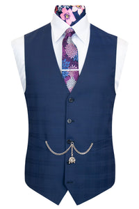 The Cresswell Navy Check Front Waistcoat