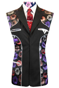 The Devon Black with Red and Yellow Pinstripe Suit Lining