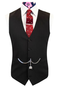 The Devon Black with Red and Yellow Pinstripe Waistcoat Front