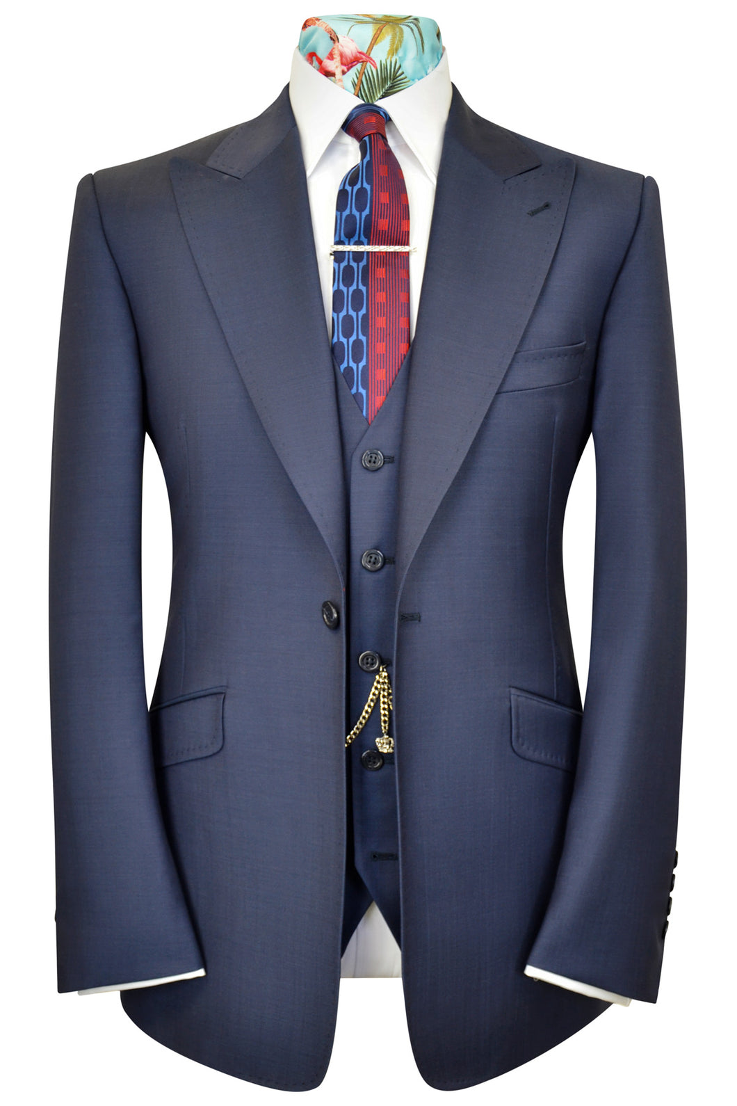 Airforce blue three piece peak lapel suit