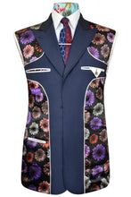 Airforce blue three piece suit featuring a black base lining with multi-coloured floral pattern