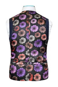 Airforce blue waistcoat featuring a back black base lining with multi-coloured floral pattern