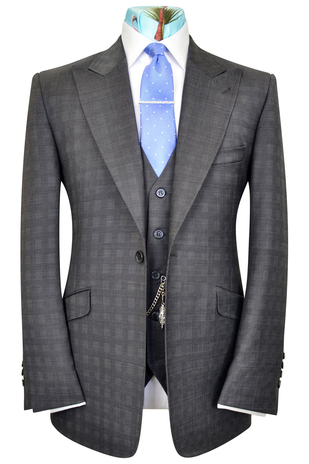 Charcoal Grey three pice peak lapel Check Suit