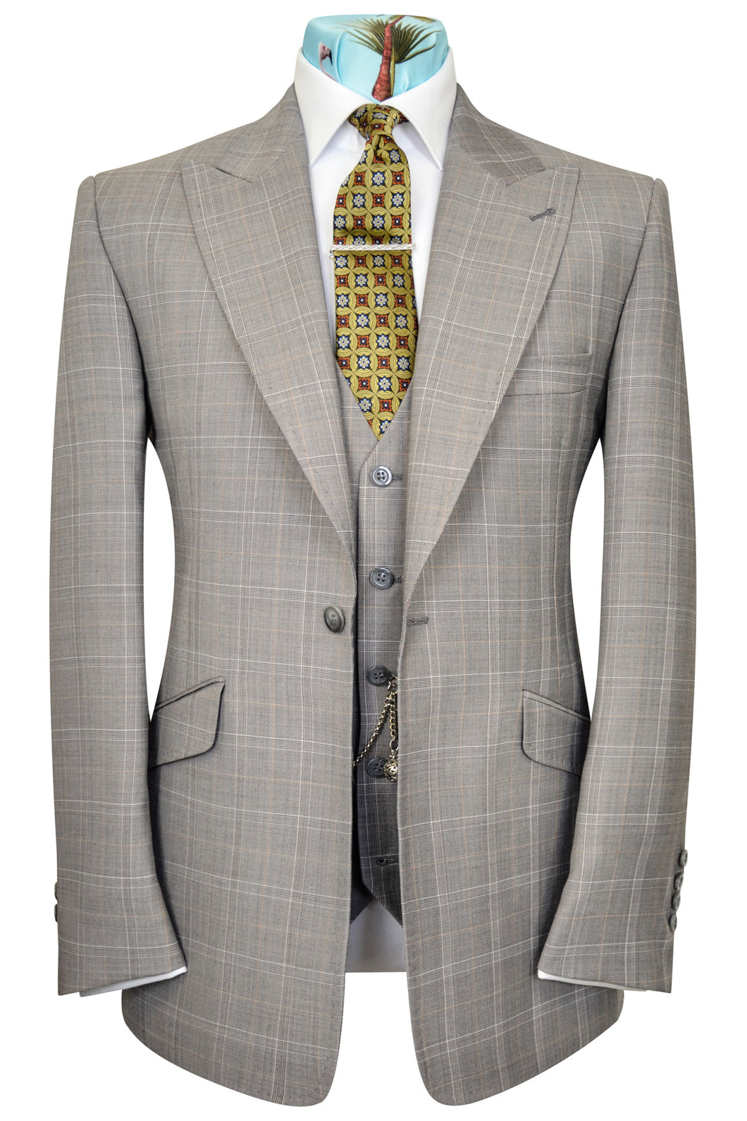 Orange over grey three piece peak lapel windowpane check suit