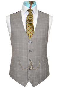 Orange over grey windowpane check waistcoat featuring a back black base lining with multi-coloured floral pattern