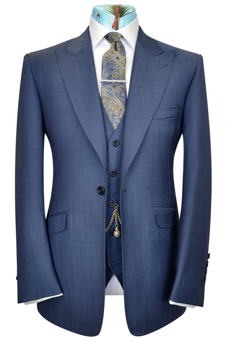 Denim Blue three piece peak lapel Suit
