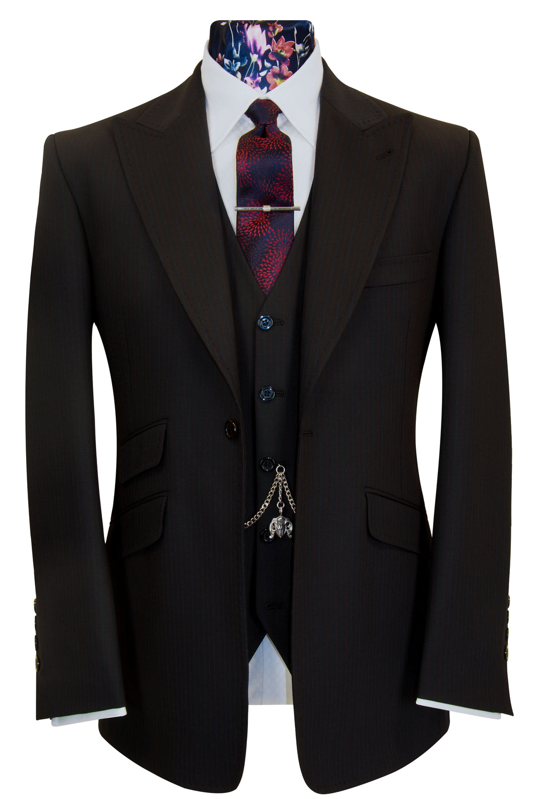 William Hunt Savile Row | The Eliot Black with Red and Blue Pinstripe Suit