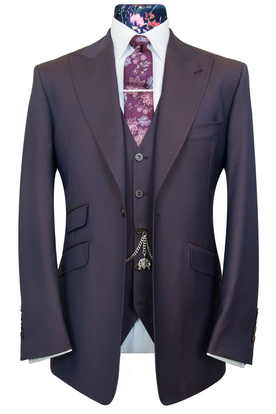 The Mountney Aubergine Shot Chevron Weave Suit