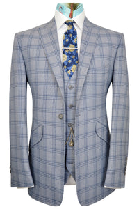 Sky blue three piece peak lapel suit with blue overcheck