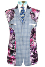 Sky blue three piece suit with blue overcheck featuring a striking purple floral lining with pink and white highlights