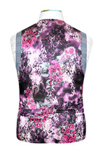 Sky blue waistcoat with blue overcheck featuring a striking purple floral back lining with pink and white highlights