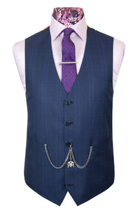 The Walker Navy Blue Suit with Black and Blue Over Check Waistcoat
