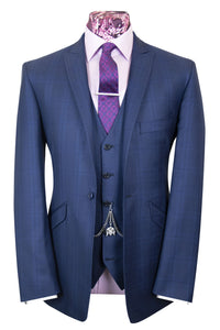 The Walker Navy Blue Suit with Black and Blue Over Check