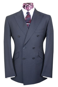 The Mycroft Charcoal with Grey Stripe Double Breasted Suit