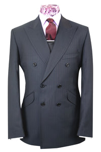 The Kenneth Charcoal with Red Stripe Double Breasted Suit