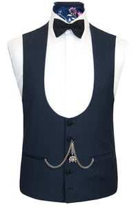 The Everleigh Navy Dinner Suit Waistcoat Front