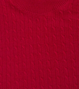 William Hunt Savile Row Merino Wool Red Cable Knit Roll Neck Jumper