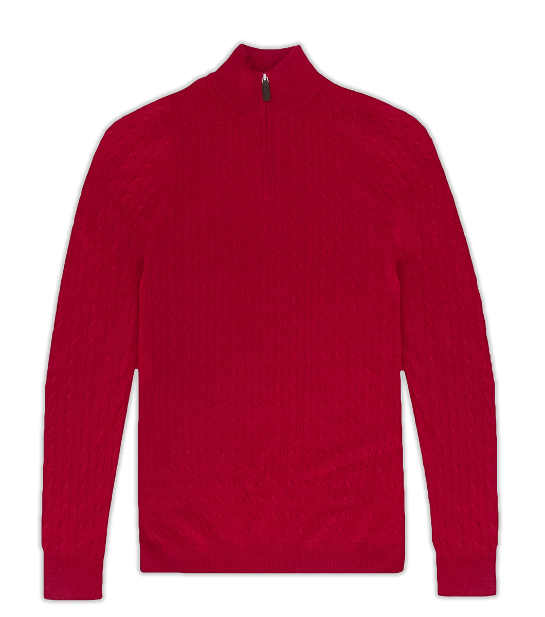Merino Wool Red Cable Knit Half Zip Jumper