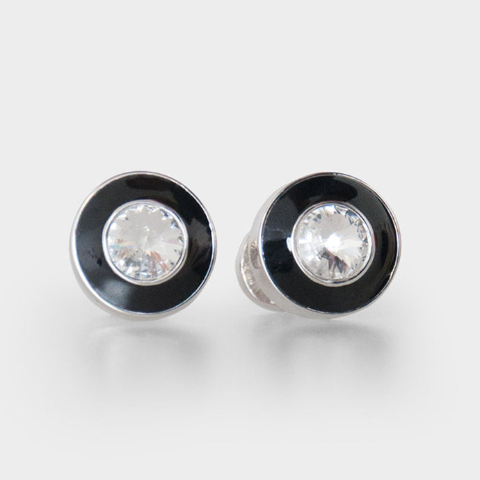 Double Round Black and Silver Crystal Cufflinks