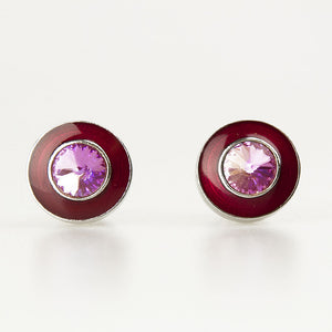Double Round Red and Pink Crystal Cufflinks