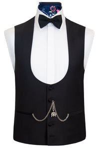 The Digby Black Dinner Suit Waistcoat Front