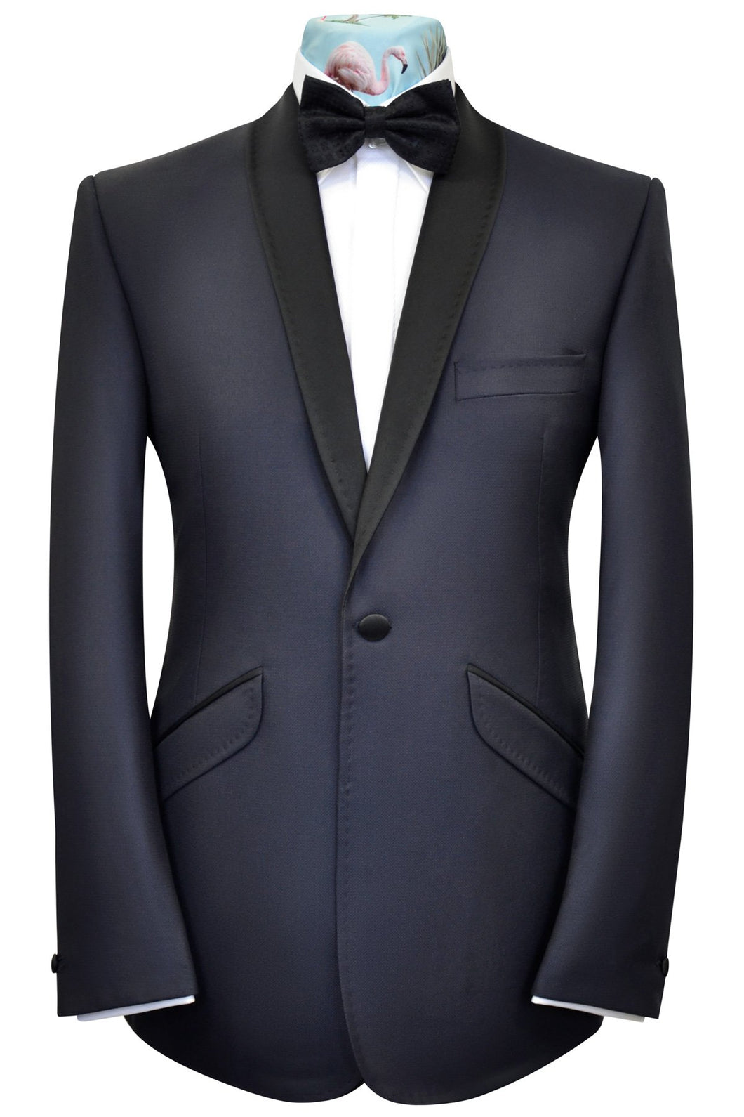 Navy blue shawl collared tuxedo dinner suit featuring a black lining with red piping highlights.