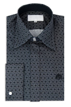 Black Pattern Forward Point Collar Shirt