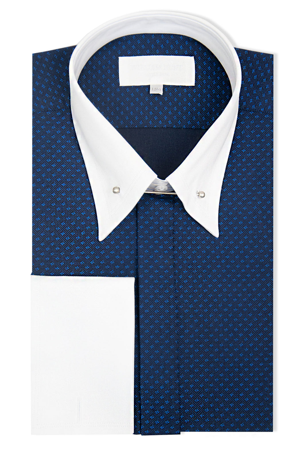Navy with Blue Pattern Forward Point Shirt with Pin Collar