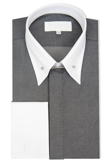 Grey with White Pin Dot Forward Point Shirt with Pin Collar
