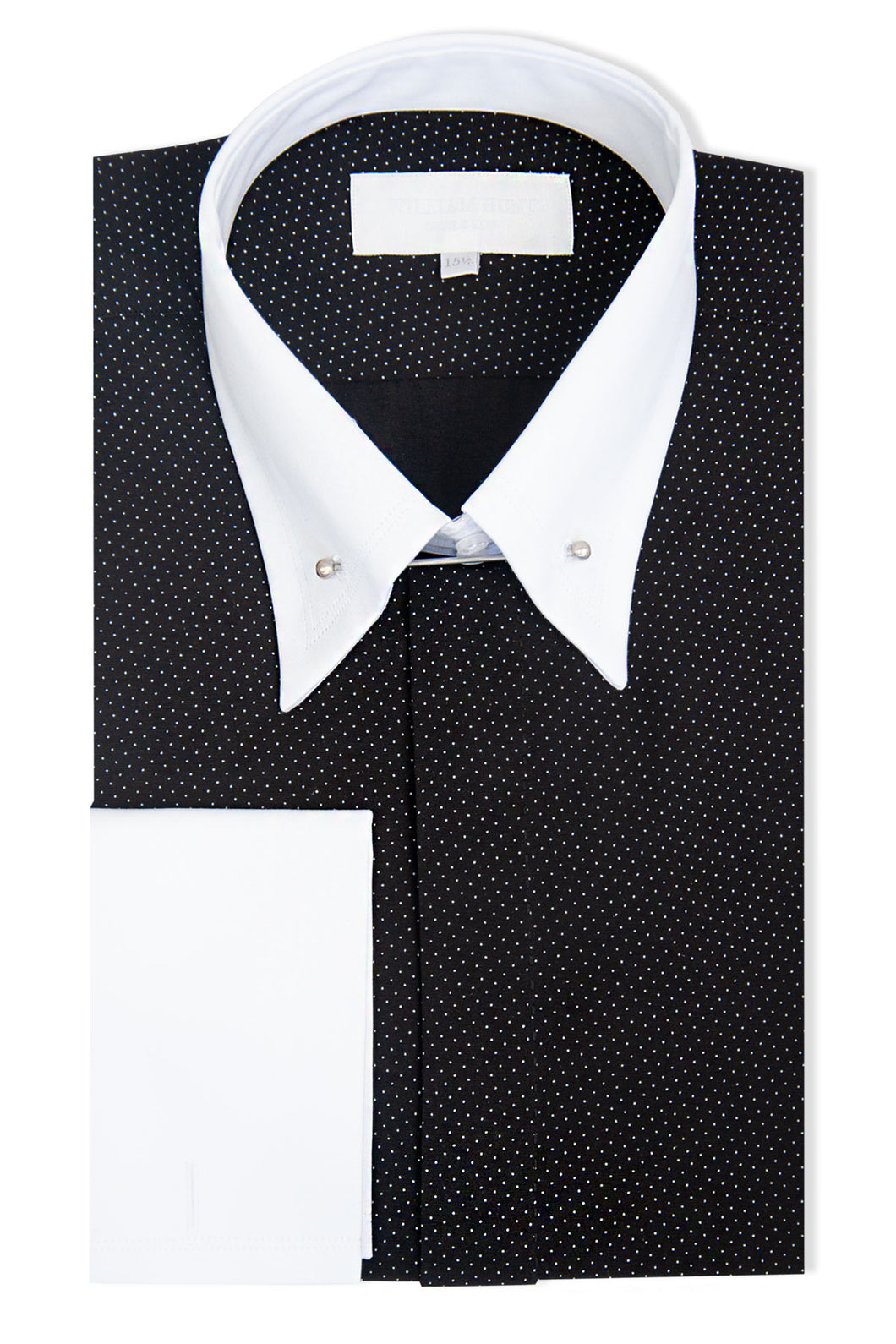 Black with White Pin Dot Forward Point Shirt with Pin Collar