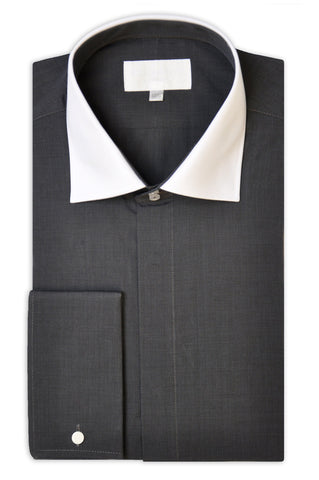 Charcoal Grey Cotton Poplin Shirt with Matching Tie - William Hunt Savile Row