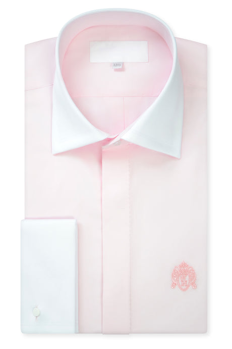 Pale Pink Contrasting Cutaway Collar Shirt with Matching Tie