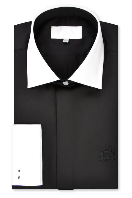 Black Cutaway Collar Shirt