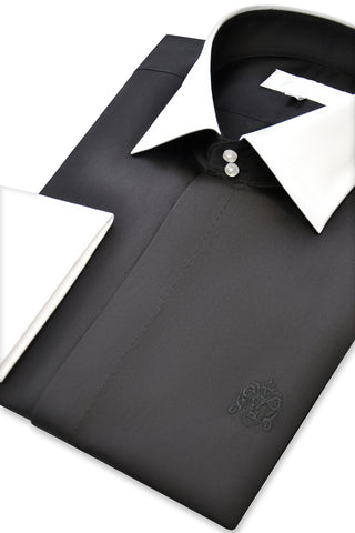 Black Cutaway Collar Shirt with Matching Tie