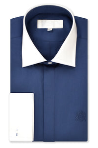 Oxford Blue Cutaway Collar Shirt with Matching Tie