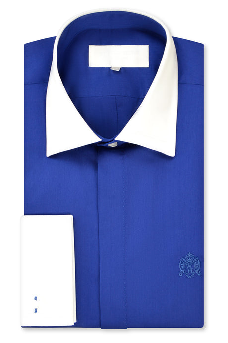 Peacock Blue Cutaway Collar Shirt with Matching Tie