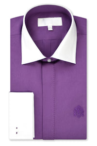 Mauve Purple Cutaway Collar Shirt with Matching Tie