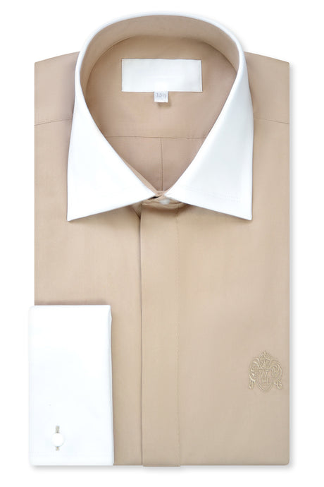 Sand Cutaway Collar Shirt with Matching Tie