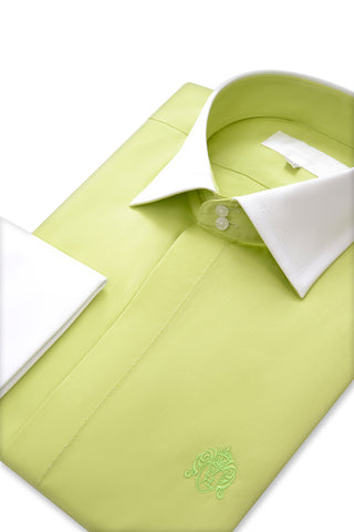 Lime Green Cutaway Collar Shirt with Matching Tie